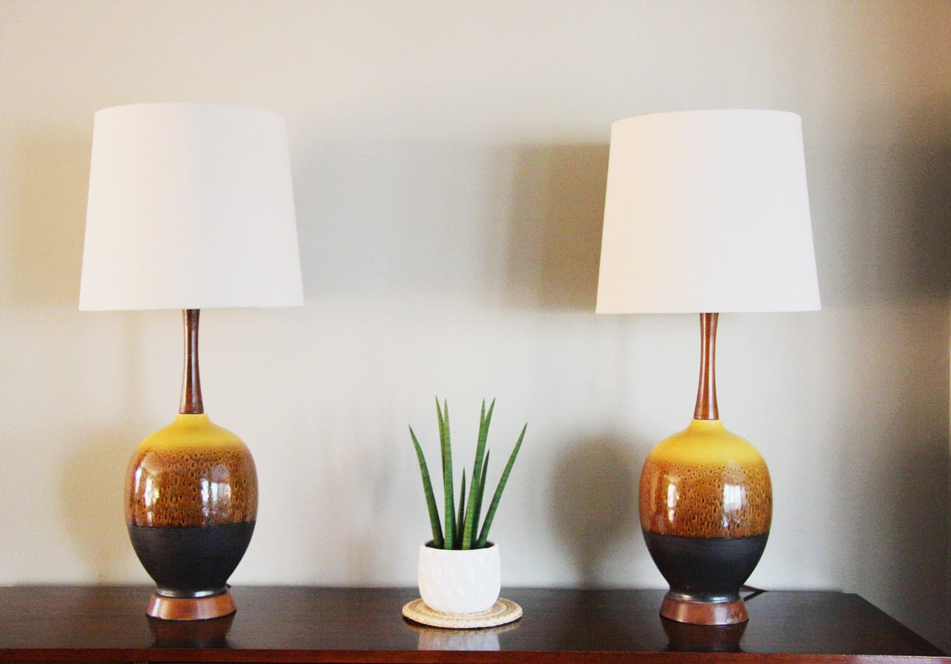 Pair of Mid Century Phil Mar Drip Glazed Table Lamps