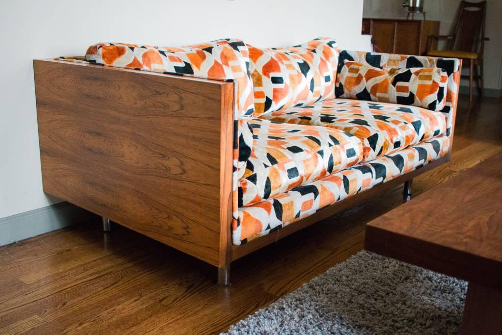 Vintage Mid Century Milo Baughman Floating Rosewood Case Sofa & Loveseat2