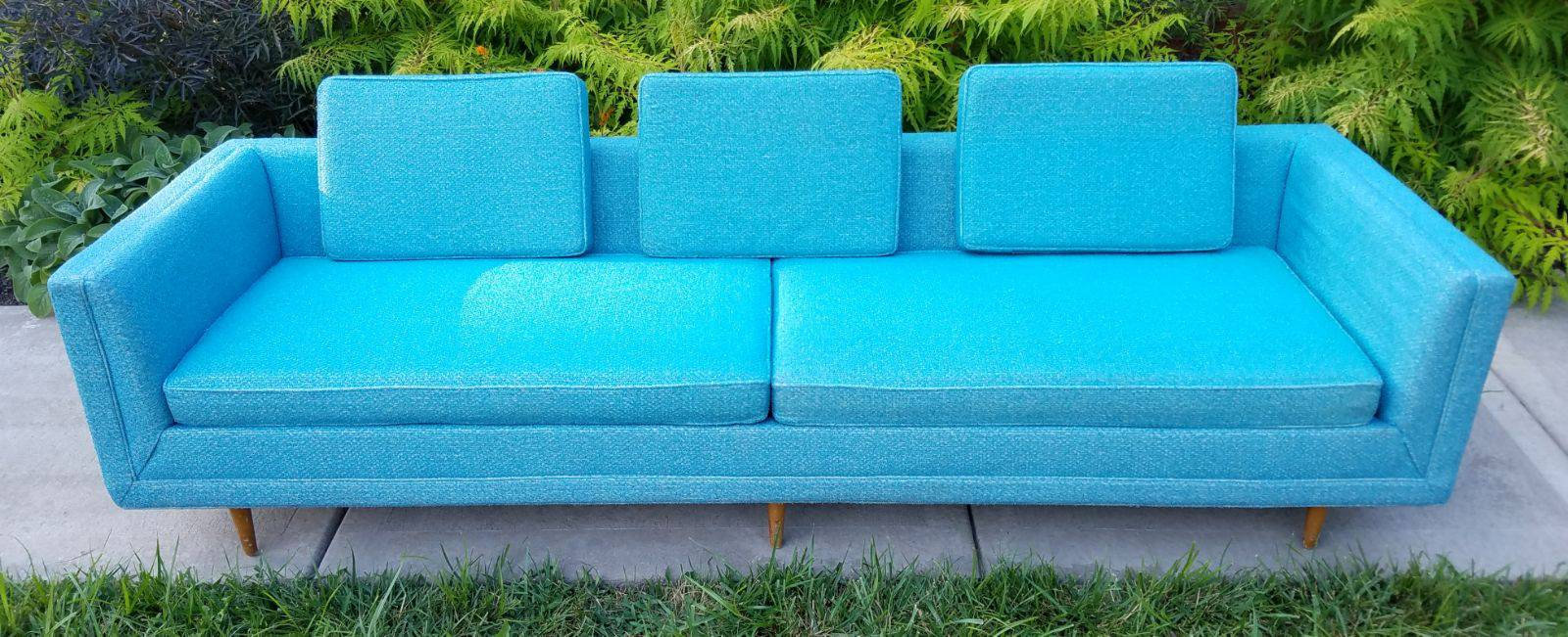 Turquoise Mid Century Sofa in Like New Condition