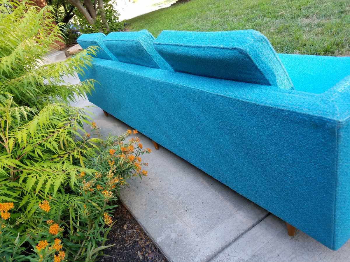Turquoise Mid Century Sofa in Like New Condition_3
