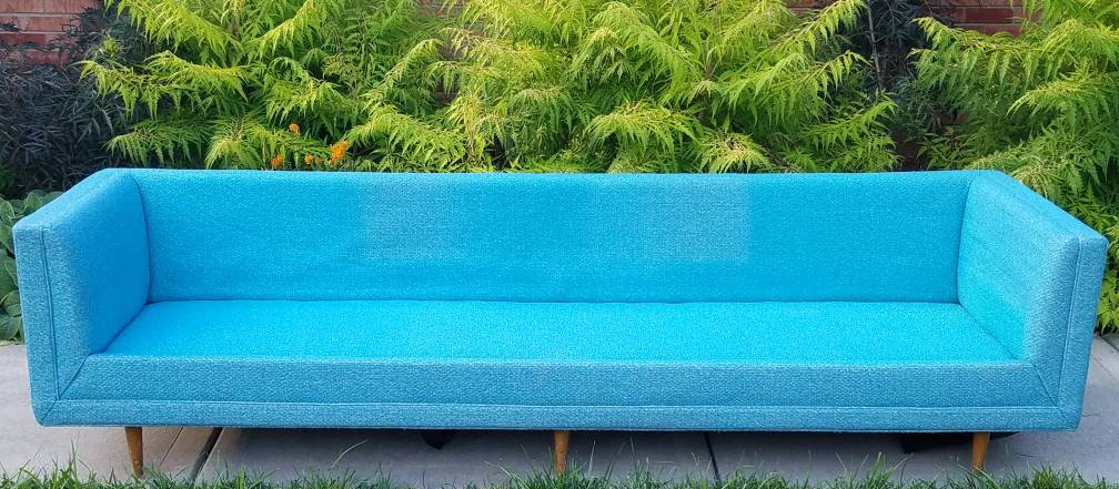 Turquoise Mid Century Sofa in Like New Condition_4