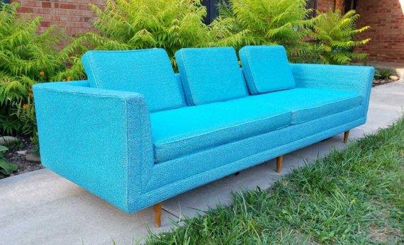 Vintage mid-century modern turquoise 8ft sofa5