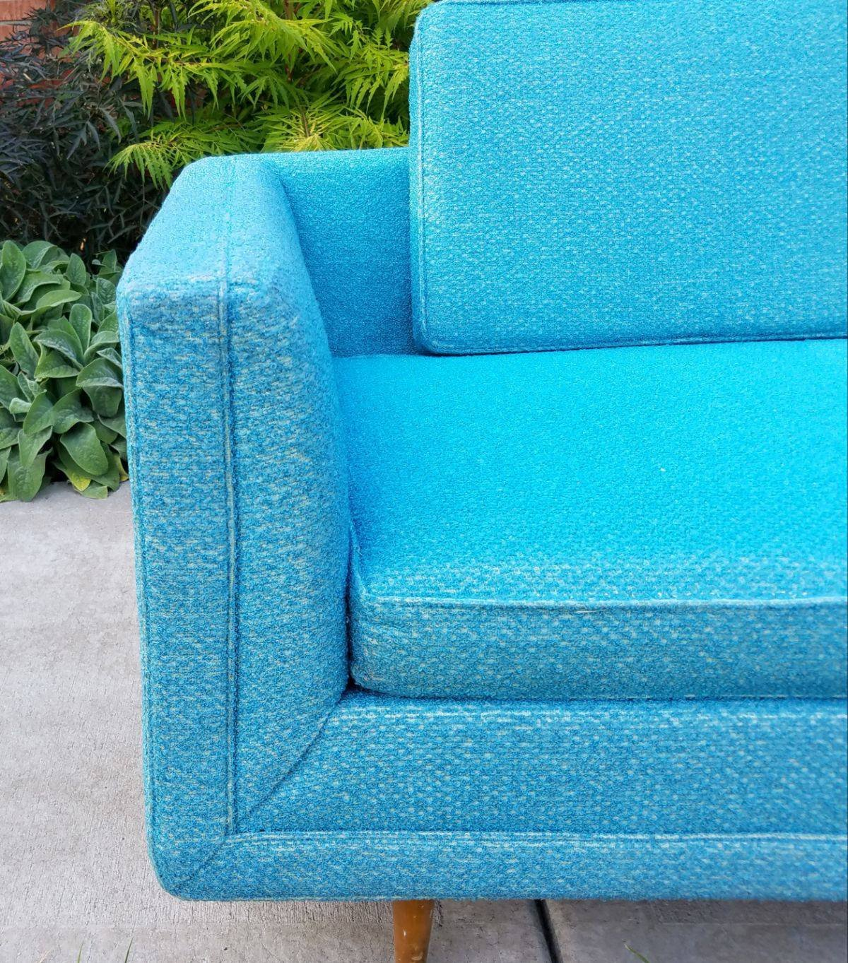 Turquoise Mid Century Sofa in Like New Condition_7
