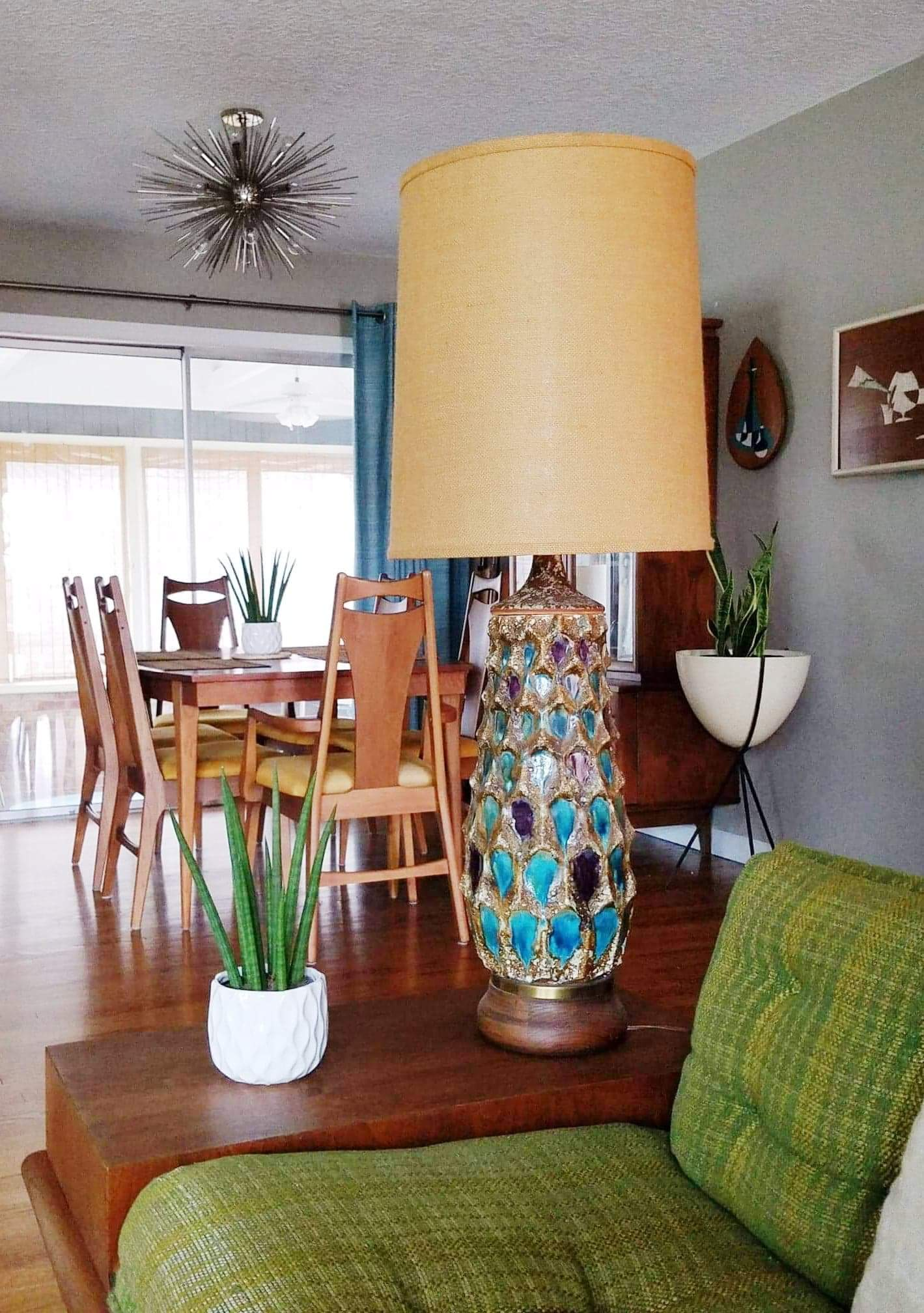 Mid Century Drip Glazed Lava Table Lamp