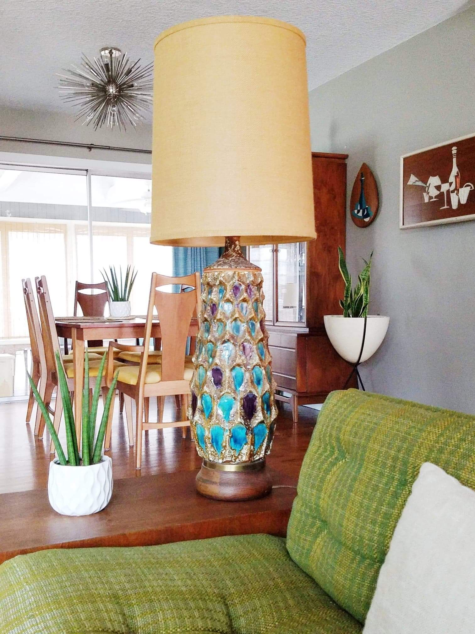 Mid Century Drip Glazed Lava Table Lamp_1