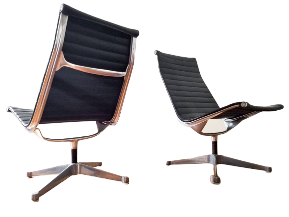 2 Vintage Charles Eames Aluminum Group Office Chairs