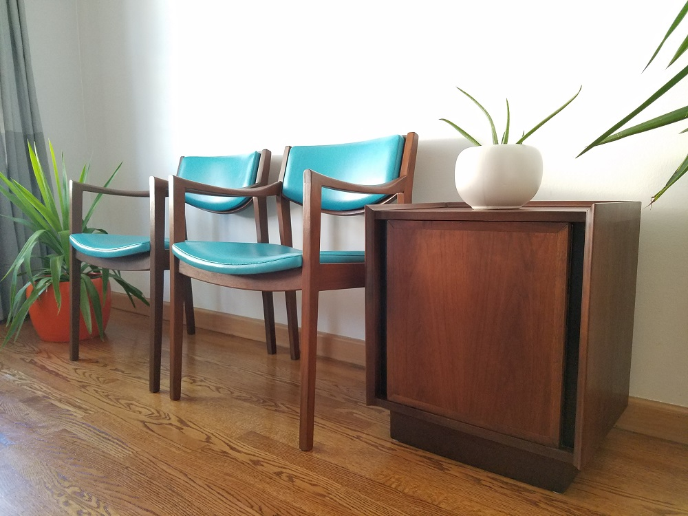 Pair Of Mid Century Modern Arm Chairs by Gunlocke Chair Co.