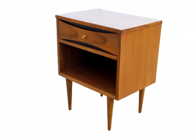Mid Century Modern Nightstand with Gold Accents_1