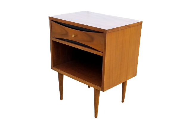 Mid Century Modern Nightstand with Gold Accents