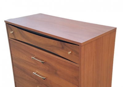Vintage Mid Century Modern Chest with Double Deep Drawer_3