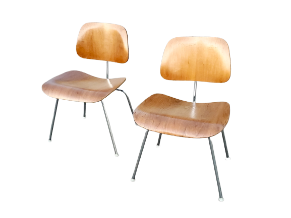 Pair of Charles Eames Designed DCM Molded Plywood Chairs for Herman Miller