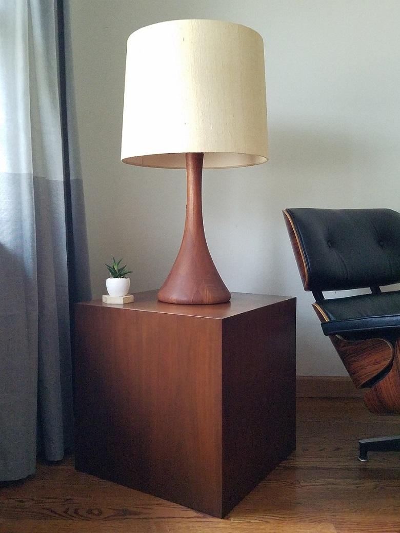 Mid Century Vintage Walnut Cube End Table
