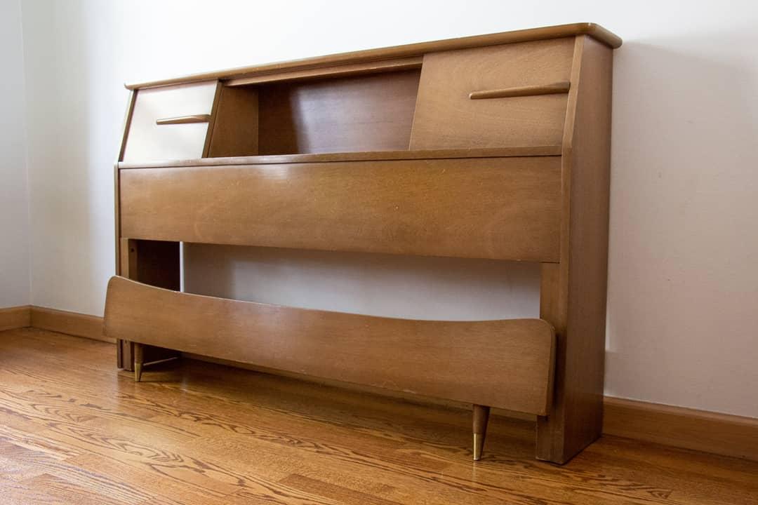 Image of: Vintage Mid Century Modern Full Size Bookcase Headboard Iconic Mid Mod Decor
