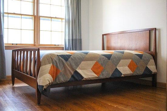 Vintage Mid Century Walnut Full Size Bed